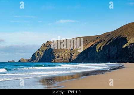 Chapel porth beach and St.Agnes head, Cornwall, England, UK - Stock Photo