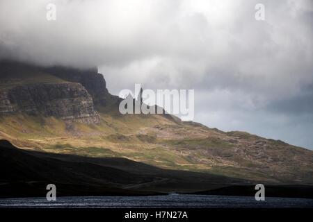 Hiking the Old Man of Storr Isle Skye in Scotland UK - Stock Photo