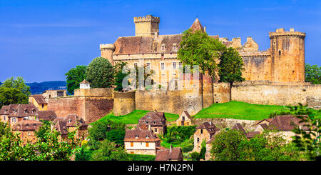 Great castles of France- Chateau Bretenoux in Dordogne region - Stock Photo