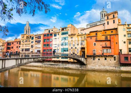 Girona - beautiful colorful town in Catalonia, Spain - Stock Photo