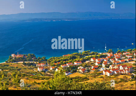 Bol on Brac island panoramic aerial view, Dalmatia, Croatia - Stock Photo