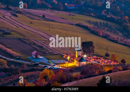 Idyllic church and graveyard evening view from above, Prigorje region of Croatia - Stock Photo