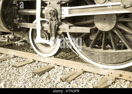 close up of vintage train wheels and track or rail - Stock Photo