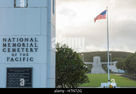 Honolulu Hawaii Punchbowl Crater National Memorial Cemetery of Pacific, cemetery of war dead heroes entrance - Stock Photo