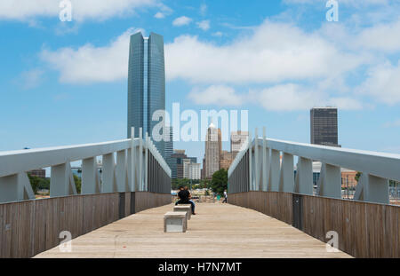Oklahoma City Oklahoma OK, OKC, city skyline from Sky Dance Bridge over Expressway of downtown - Stock Photo