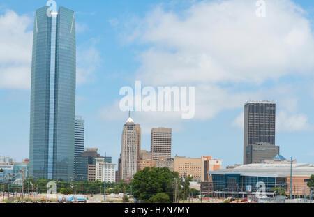 Oklahoma City Oklahoma OK, OKC, city skyline from Expressway of downtowm - Stock Photo