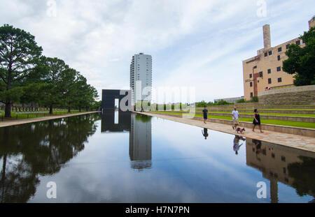 Oklahoma City Oklahoma OK, OKC, historical disaster OKC bombing reflection lake at OKC Bombing Memorial that happened - Stock Photo