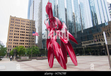 Oklahoma City Oklahoma OKC City downtown red Gallaxy Sculpture in front of Leadership Square - Stock Photo