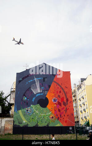 Lisbon, Portugal, abstract mural on end of terrace - Stock Photo