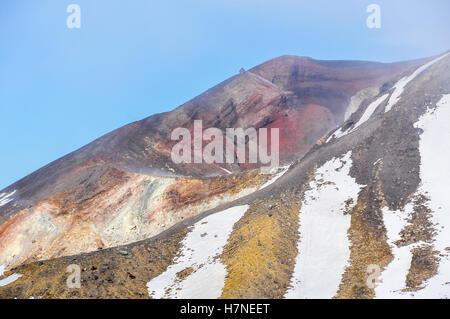 Red Crater in cloud in the winter Tongariro Alpine Crossing, New Zealand - Stock Photo