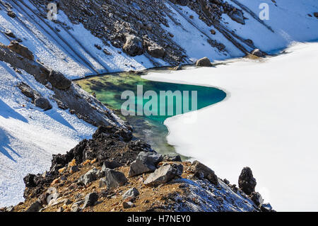 Emerald Lakes in the winter Tongariro Alpine Crossing, New Zealand - Stock Photo
