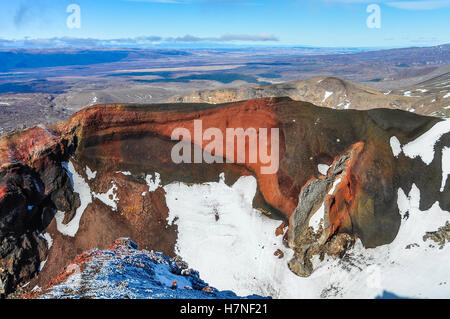 View from the Red Crater in the winter Tongariro Alpine Crossing, New Zealand - Stock Photo