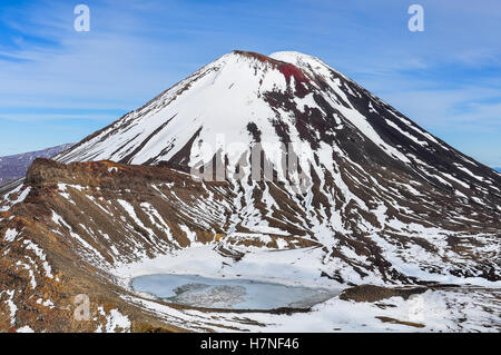 Mount Doom and the South Crater in the winter Tongariro Alpine Crossing, New Zealand - Stock Photo