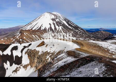 Mount Doom in the winter Tongariro Alpine Crossing, New Zealand - Stock Photo