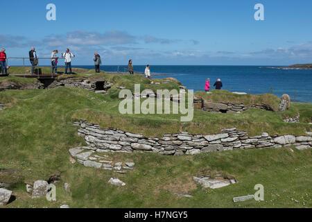 Views from Skara Brae Neolithic Village, Sandwick, Orkney, Scotland - Stock Photo