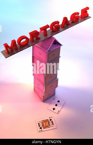 Mortgage balancing on a House of cards - Stock Photo