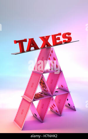 Taxes balancing on a House of cards - Stock Photo