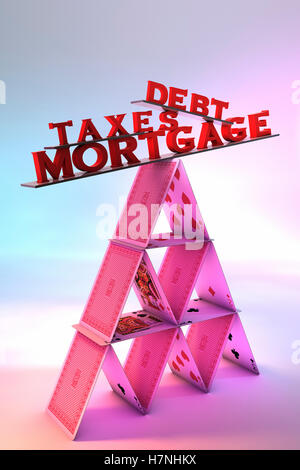 Mortgage,taxes and debt  balancing on a House of cards - Stock Photo