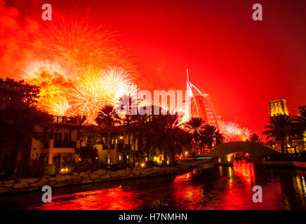 New Year in Dubai. A view to hotel resort Burj al Arab from hhotel resort Madinat - Stock Photo