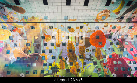 A view of the beautiful Markthal roof, in Rotterdam, Netherlands - Stock Photo