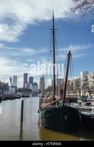 A view on the Oude Haven, Rotterdam, The Netherlands (March 2016) taken from the Overblaak (Kubuswoningen) - Stock Photo