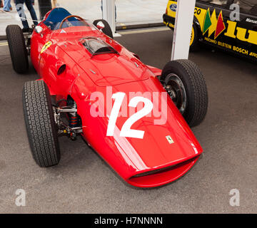 View of a 1958  Ferrari 246 Formula one car on display at the Regents Street Motor Show, 2016. - Stock Photo