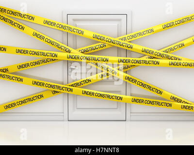 White door and under construction tape , This is a 3d rendered computer generated image. Isolated on white. - Stock Photo