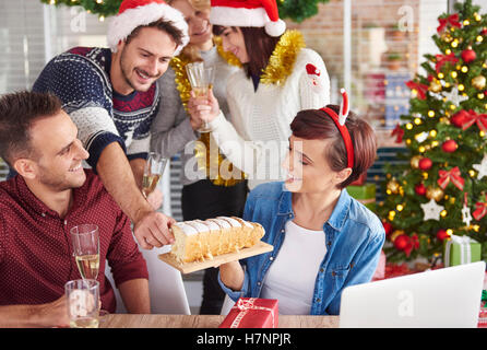 Can we try delicious Christmas cake - Stock Photo