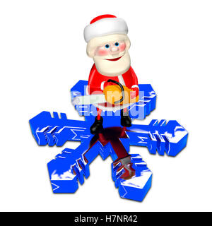 3D Illustration of Santa Claus on a Snowflake with Chainsaw - Stock Photo