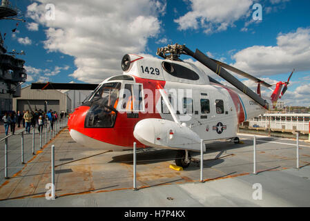 Sikorsky Sea King US Coast Guard Helicopter on the deck of USS Intrepid Museum of Air and Space in New York City - Stock Photo