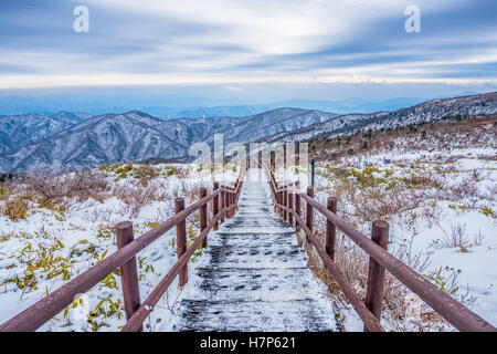 Winter landscape white snow of Mountain in Korea - Stock Photo