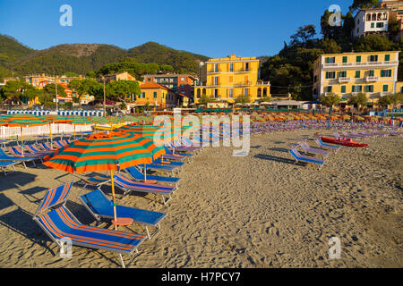 Beach of Monterosso al Mare, Riviera de Levanto, fishing village, Cinque Terre. Genoa. Mediterranean Sea. Liguria, - Stock Photo