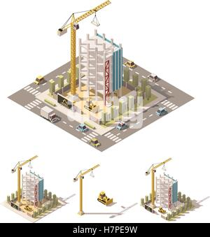 Vector isometric low poly construction site - Stock Photo