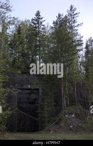 Entrance to a ruined Swedish railway bunker from WWII. - Stock Photo