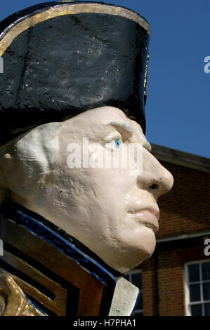 Bust - statue - Lord Horatio Nelson in HM Dockyard Portsmouth, Portsmouth, Hampshire, England. UK. - Stock Photo