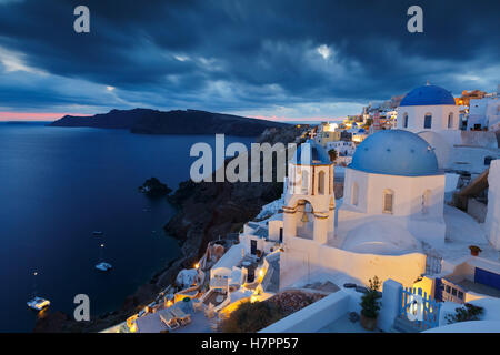 View of Oia village on Santorini island in Greece. - Stock Photo