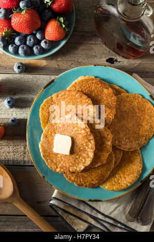 Homemade Mini Silver Dollar Pancakes with Butter and Syrup - Stock Photo
