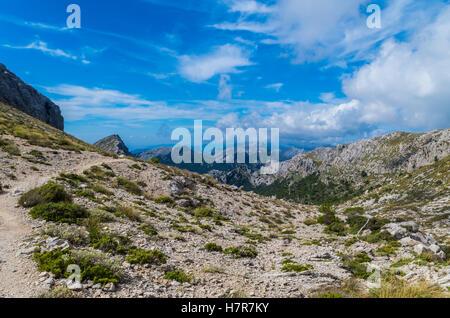 Hiking path in the Tramuntana on GR 221, Mallorca, Spain - Stock Photo