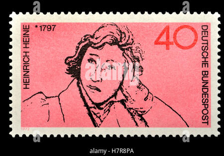 German postage stamp (1972)  : 175th birthday of Heinrich Heine (1797-1856) German poet, journalist, essayist and - Stock Photo