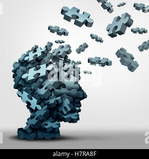 Dementia puzzle concept brain health problem symbol as a neurology and psychology icon as a a group of 3D illustration - Stock Photo