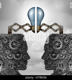 Concept of creativity partnership and creative group cooperation as a bunch of gears and cogs shaped as open minded - Stock Photo