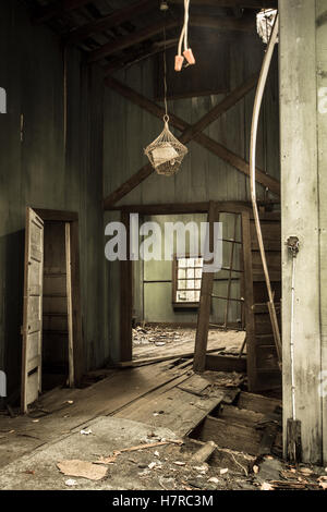 Interior Of Abandoned Home In The Great Smoky Mountains National Park. Interior of Elkmont historic district home. - Stock Photo
