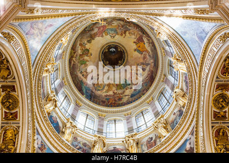Dome interior, St Isaac's Cathedral, St Petersburg, Russia - Stock Photo