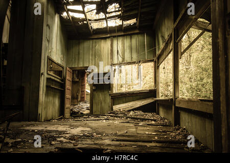 Interior Of Abandoned Home In The Great Smoky Mountains National Park Interior of Elkmont historic district.Gatlinburg - Stock Photo