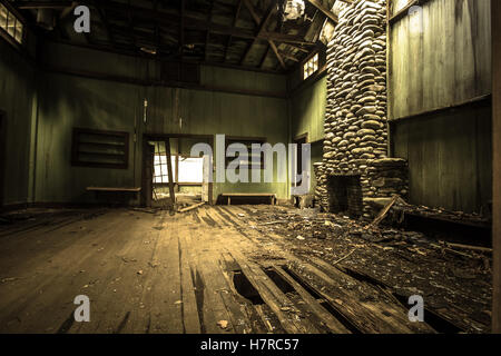 Abandoned Home.  The interior of an abandoned vacation home on Millionaire's Row in the Great Smoky Mountains National - Stock Photo