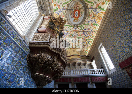 Capela de Sao Miguel chapel of University of Coimbra. Coimbra, Portugal, Europe - Stock Photo