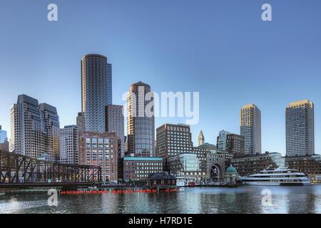 A view of Boston's inner harbor area - Stock Photo