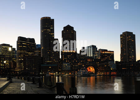 The Boston, Massachusetts  city center at dusk - Stock Photo