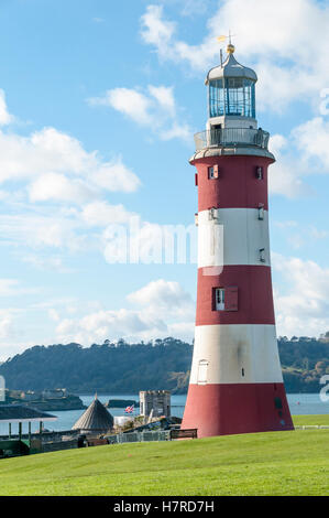 Smeaton's Tower on Plymouth Hoe is the relocated and restored third Eddystone Lighthouse. - Stock Photo
