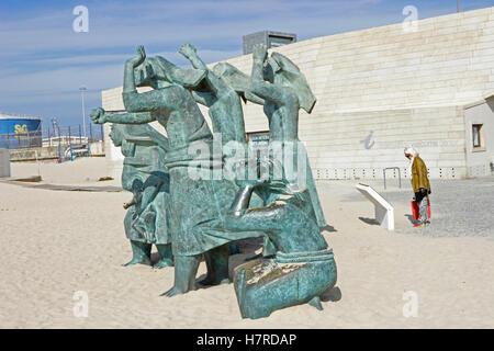 Matosinhos Sul or the Wailing Women on the beach at Leixoes, Porto, Portugal - Stock Photo
